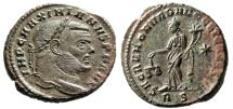 "Ancient Coins - Maximian Silvered Follis ""Moneta With Scales"" Rome Mint 302-302 AD RIC 105b aEF"
