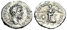 "Ancient Coins - Septimius Severus Silver Denarius ""Victory, Wreath on Shield"" Rome 200 AD gVF"