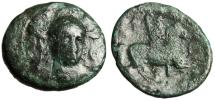 "Ancient Coins - Thessaly, Pharsalos AE21 Dichaklon ""Facing Athena & Thessalian Horseman, Whip"""