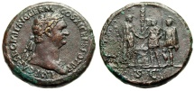 """Ancient Coins - Domitian Sestertius """"Emperor Clasping Hands General Agricola, Soldiers"""" 85 AD RIC 359 Very Rare nEF"""