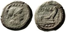 "Ancient Coins - Roman Republic AE Triens ""Helmeted Minerva & Prow, Thunderbolt"" Crw 119/5 Rare"