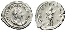 "Ancient Coins - Herennia Etruscilla Silver Antoninianus ""Pudicitia Drawing Veil"" Rome RIC 58b EF"