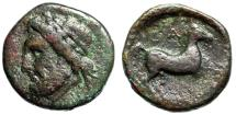 """Ancient Coins - Elis, Olympia AE15 """"Head of Zeus Left & Horse Trotting"""" Rare Bust Direction"""