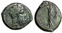 "Ancient Coins - Sicily, Syracuse AE Hemidrachm ""Zeus Eleutherios & Thunderbolt, Eagle"" gVF Green"