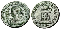 "Ancient Coins - Constantine II AE3 ""Bust With Victory & Mappa / Altar, Globe"" Trier RIC 353 gVF"