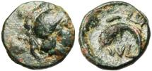 "Ancient Coins - Troas, Sigeon AE10.5 ""Athena & Crescent"" 4th Century BC Very Rare"