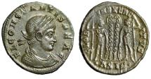 "Ancient Coins - Constans I AE18 ""FL CONSTANTIS BEA C Legends & Soldiers"" Siscia RIC 238 Good VF"