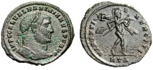 "Ancient Coins - Galerius Follis ""VIRTVTI EXERCITI Mars, Trophy & Spear"" Heraclea RIC 44a Scarce"