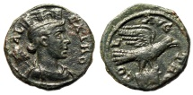 "Ancient Coins - Troas, Alexandria Pseudo-Autonomous Issue "" Tyche & Eagle, Head of Bull"" gVF"