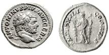 "Ancient Coins - Caracalla Silver Denarius ""Fides Militum, Standards"" Rome 215 AD RIC 266 gVF"