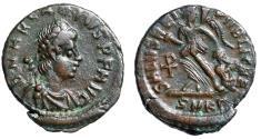 "Ancient Coins - Arcadius AE14 ""SALVS REIPVBLICAE Victory Dragging Captive, Chi-Rho"" Cyzicus gVF"