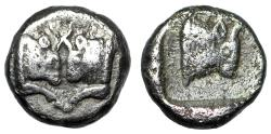 "Ancient Coins - Caria, Uncertain AR 1/3 Siglos ""Foreparts Confronted Bulls & Right"" Very Rare"