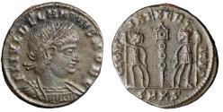 """Ancient Coins - Delmatius AE17 """"GLORIA EXERCITVS Soldiers"""" Cycicus RIC 146 Scarce VF"""