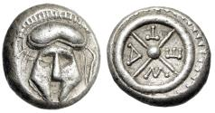 "Ancient Coins - Thrace, Mesembria AR Diobol ""Facing Corinthian Helmet & META Wheel"" Good VF"
