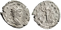 "Ancient Coins - Gallienus Silver Antoninianus ""VICTORIA AVG II Victory"" Milan RIC 305 Scarce"