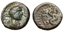 """Ancient Coins - Hadrian AE14 """"Serpent Entwined Staff of Asklepios"""" Caria Cos Extremely Rare"""