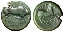 "Ancient Coins - Apulia, Arpi AE19 ""Bull Butting & Horse Rearing"" Green Patina About VF"