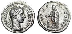 "Ancient Coins - Severus Alexander AR Denarius ""Emperor at Tripod"" Rome 226 AD RIC 50 gVF"