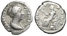 """Ancient Coins - Faustina II Junior AR Denarius """"Concordia Seated, Cornucopia"""" Rome 145-161 AD"""