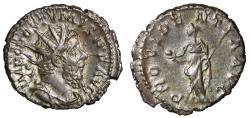"Ancient Coins - Postumus AR Antoninianus ""Providentia With Globe"" Lugdunum RIC 80 gVF"
