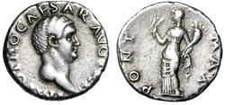 "Ancient Coins - Otho 69 AD AR Silver Denarius ""PONT MAX Ceres, Grain"" Rare Near VF"