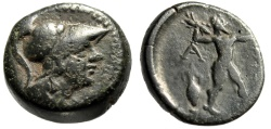 "Ancient Coins - Attica, Athens AE19 ""Helmeted Athena & Zeus Hurling Thunderbolt, Amphora"" gF"