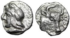 "Ancient Coins - Mysia, Kyzikos (Cyzicus) AR Hemiobol ""Attis & Head of Bull"" Good VF"