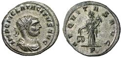 """Ancient Coins - Tacitus Silvered Antoninianus """"Aequitas With Scales"""" Lyons RIC 181 FDC"""