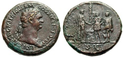 "Ancient Coins - Domitian Sestertius ""Emperor Clasping Hands General Agricola, Soldiers"" 85 AD RIC 359 Very Rare nEF"