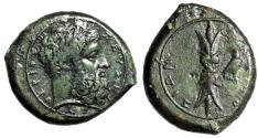 """Ancient Coins - Sicily, Syracuse AE Hemidrachm """"Zeus Eleutherios & Thunderbolt, Eagle"""" gVF Green"""
