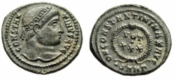 "Ancient Coins - Constantine I The Great AE20 ""VOT XXX in Wreath"" Heraclea RIC 90 Good VF"