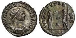 "Ancient Coins - Aurelian Billon Antoninianus ""RESTITVT ORBIS Woman, Wreath"" Antioch Near EF"