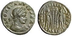 "Ancient Coins - Constans I AE18 ""FL CONSTANTIS BEA C Legends & Soldiers"" Siscia RIC 238 Good VF"