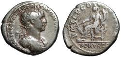 "Ancient Coins - Trajan AR Denarius ""FORT RED Fortuna Seated"" 114-117 AD RIC 320 Var gF"