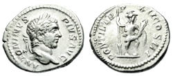 "Ancient Coins - Caracalla Silver Denarius 209 AD ""Virtus, Military Attire"" RIC 112 Nice VF"