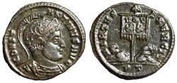 "Ancient Coins - Constantine I The Great AE19 ""Helmeted Portrait & Standard Captives"" Ticinum gVF"