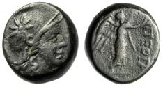 """Ancient Coins - Mysia, Pergamon (Pergamum) AE17 """"Athena, Star on Helmet & Nike"""" VF"""