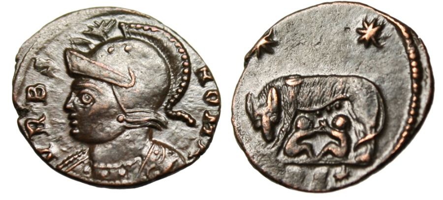 """Ancient Coins - Rome City Commemorative AE3 """"She Wolf Suckling Romulus & Remus"""" Trier RIC 547"""