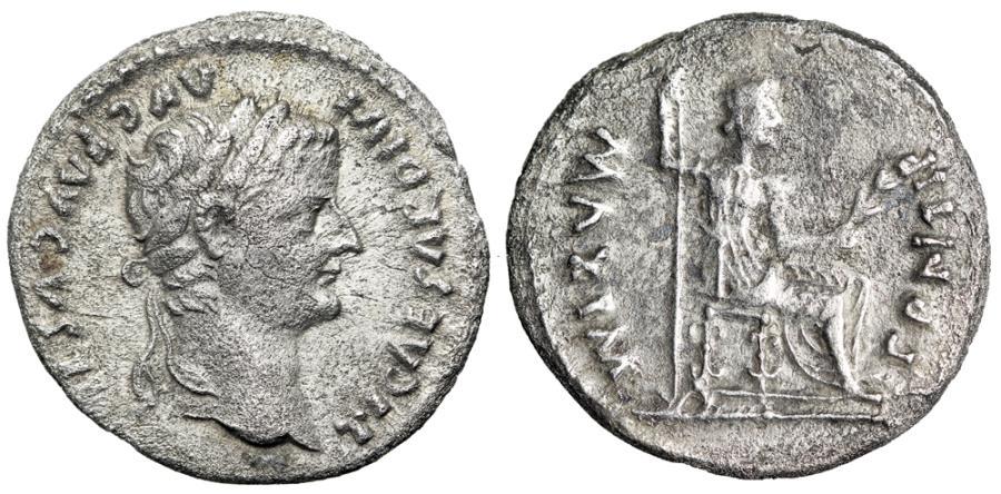 "Ancient Coins - Tiberius Silver Denarius ""Livia Seated"" Lyon 14-37 AD RIC 30 VF"