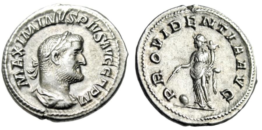 "Ancient Coins - Maximinus I Thrax Silver Denarius ""Providentia, Globe"" Older Bust RIC 20 Near EF"