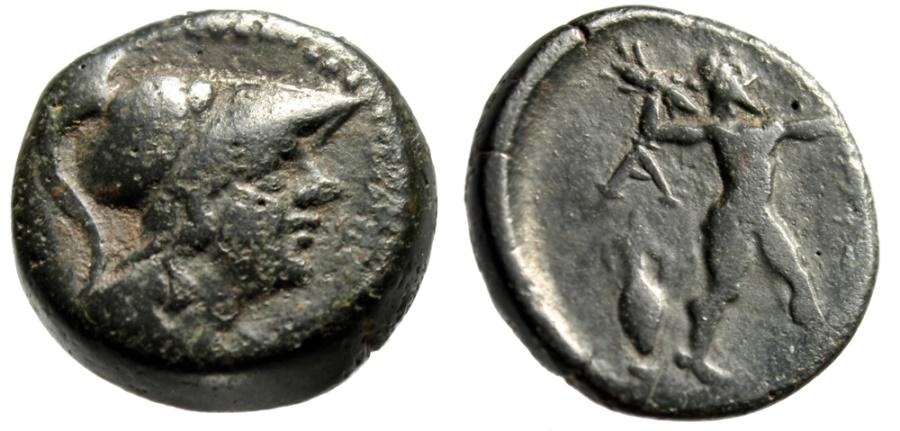 Attica, Athens AE19 Helmeted Athena & Zeus Hurling Thunderbolt, Amphora gF