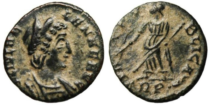"Ancient Coins - Helena AE4 ""Pax TRP Branch Exergue"" Trier RIC 90 gVF"