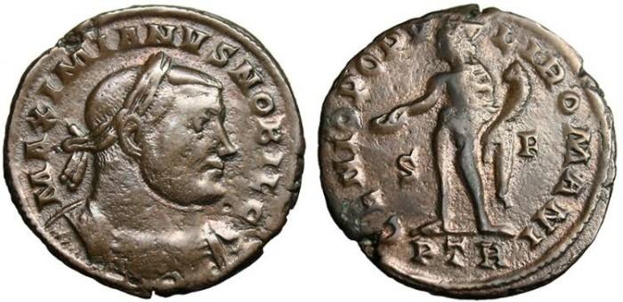 """Ancient Coins - Galerius as Caesar, AE Follis """"Genius"""" Trier RIC 594b 303-305 AD"""