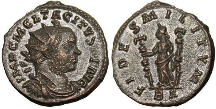 "Ancient Coins - Tacitus, AE Ant. ""FIDES MILITVM Fides"" Lugdunum Lyons EF"