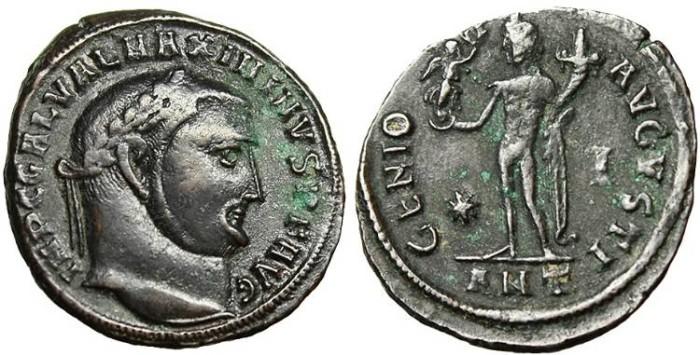 """Ancient Coins - Maximinus II, AE Follis """"Genius"""" Antioch 312 AD RIC 162b"""