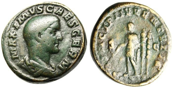 "Ancient Coins - Maximus AE Sestertius ""Holding Baton & Spear, Two Standards"" Rome RIC 13"