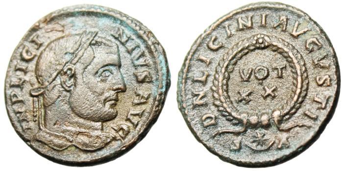 "Ancient Coins - Licinius I AE3 ""DN LICINI AVGVSTI VOT XX"" Arles RIC 240 Interesting Mintmark"
