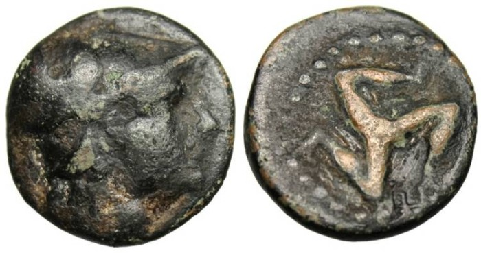 "Ancient Coins - Pisidia, Selge ""Athena & Triskeles"" Rare Unpublished"
