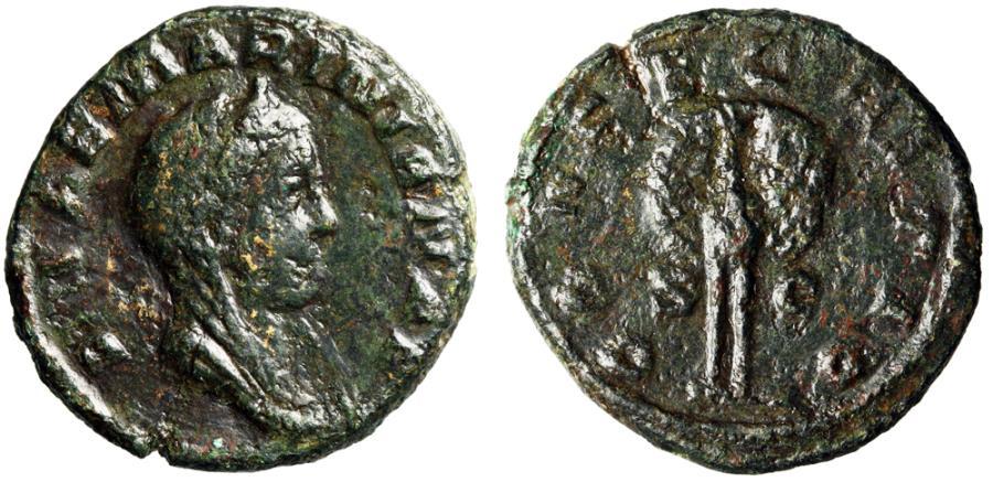 "Ancient Coins - Diva Mariniana AE As 256-260 AD ""Veiled Portrait & Peacock Facing"" Rare"