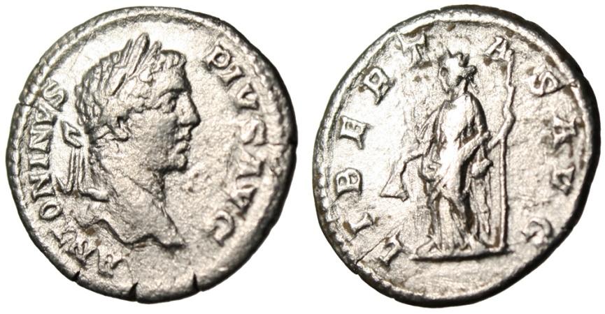 """Ancient Coins - Caracalla Silver Denarius """"Libertas With Pileus"""" Rome 209 AD RIC 161"""